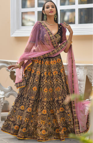 Wine Color Embroidered Velvet Indian Wedding Lehenga Online Shopping
