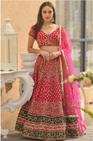 Pink Velvet Embroidered Buy Online Wedding Lehenga Choli