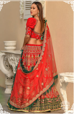 Red Velvet Embroidered Indian Wedding Lehenga Designs
