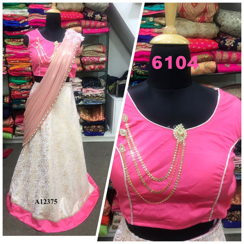 Cream And Pink Silk Fashion Lehenga Choli Style