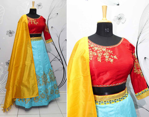 Sea Blue Silk Party Dress Lehenga Online Shopping India
