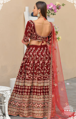 Maroon Velvet Embroidered Beautiful Wedding Lehenga Online India