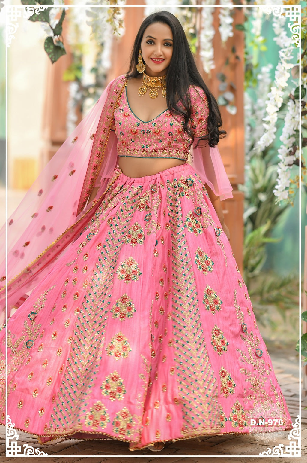 Pink Embroidered Silk Latest Lehenga Designs For Wedding With Price