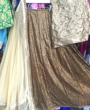 Antique Gold Color Wedding Lehenga Designs ,Indian Dresses - 3
