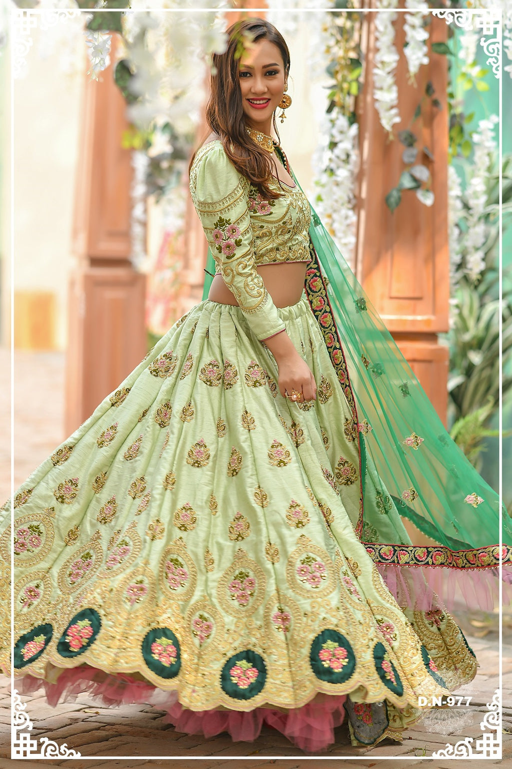Light Pista Embroidered Silk Latest Wedding Wear Ladies Lehenga Choli
