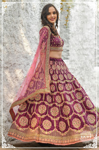 Wine Color Silk  Embroidered Wedding Lehenga Dress Online Shopping