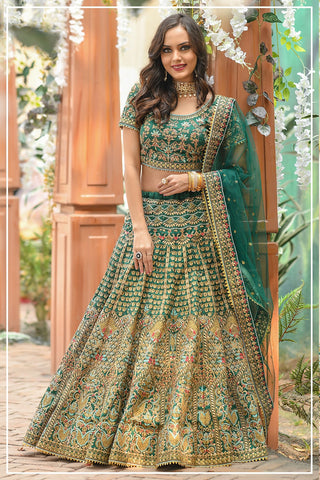 Green Silk  Embroidered Latest Wedding Ghagra Choli Dress Online Shopping