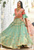 Light Sea Green Silk  Embroidered Beautiful Wedding Choli Dress Designs