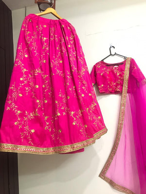 Hot Pink Taffeta Silk Embroidered Party Wear Lehenga Choli Online Shopping