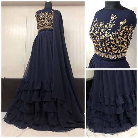 Dark Blue Georgette Party Lehenga Choli Online Shopping In Indian