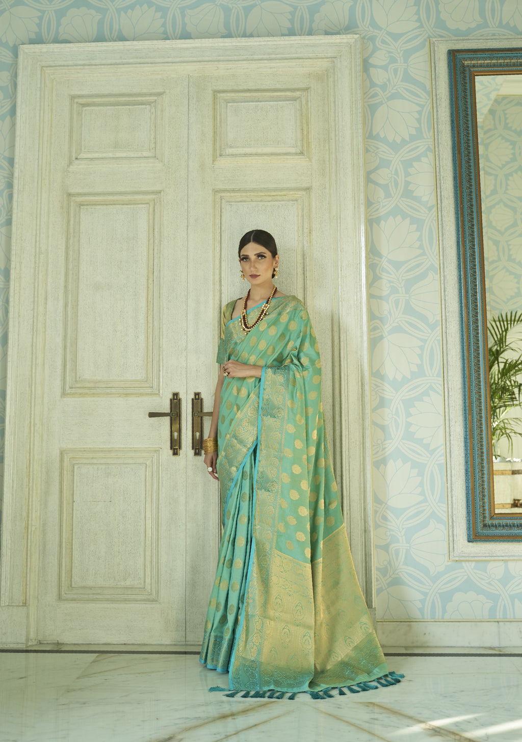 Sea Green Banarasi Silk Indian Traditional Sarees Online Buy