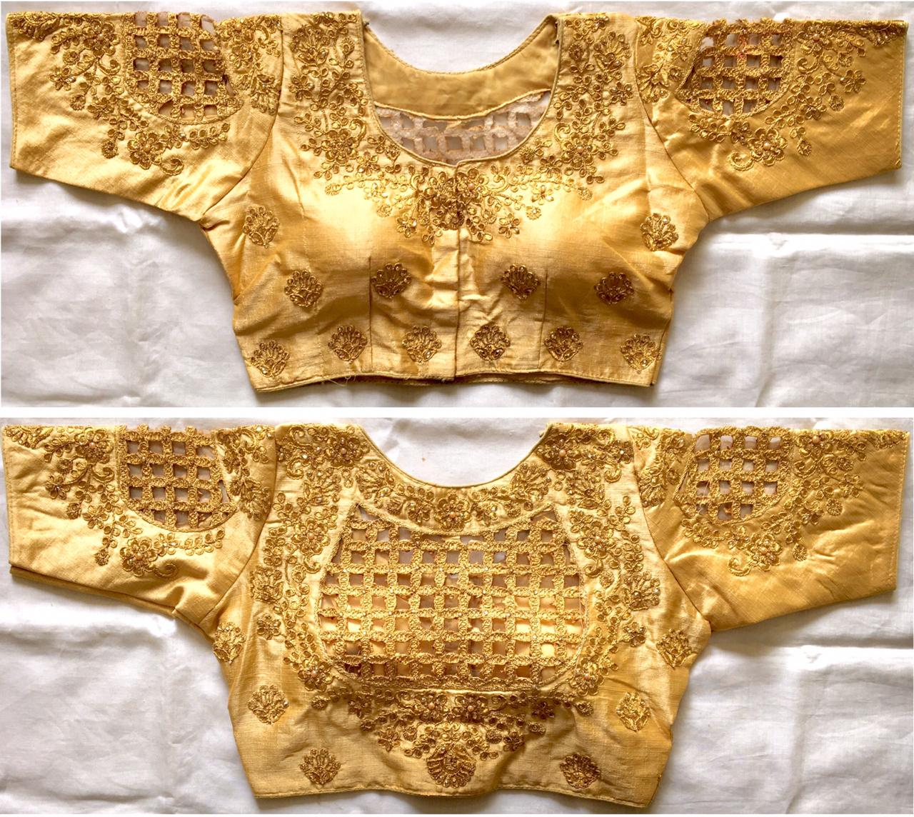 Gold Color Silk Blouse Embroidered Blouse Buy Online