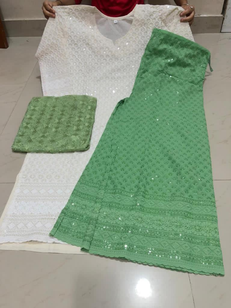 Green and Off White Cotton Chikan Kurti Palazzo Suit Shopping