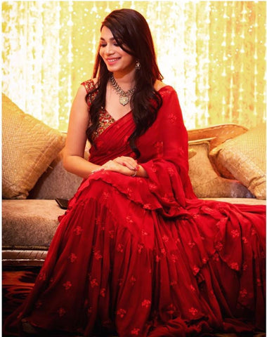 Beautiful Red Georgette Ruffle Saree Online Clothes Shopping India