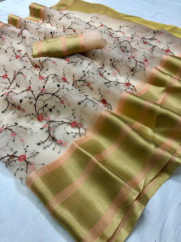 Light Peach Embroidered Organza Latest Fashion Sarees Online Shopping