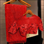 Red Georgette Sequins Sarees Online Shopping With Price