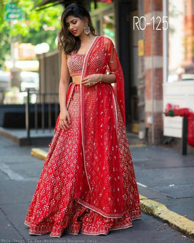 Red Banglori Satin Silk Embroidered Latest Indian Lehenga Choli Designs