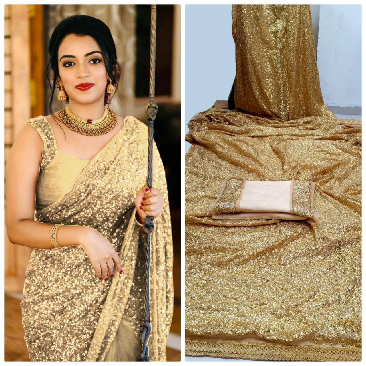 Gold Georgette Sequins Indian Women Latest Sarees Online