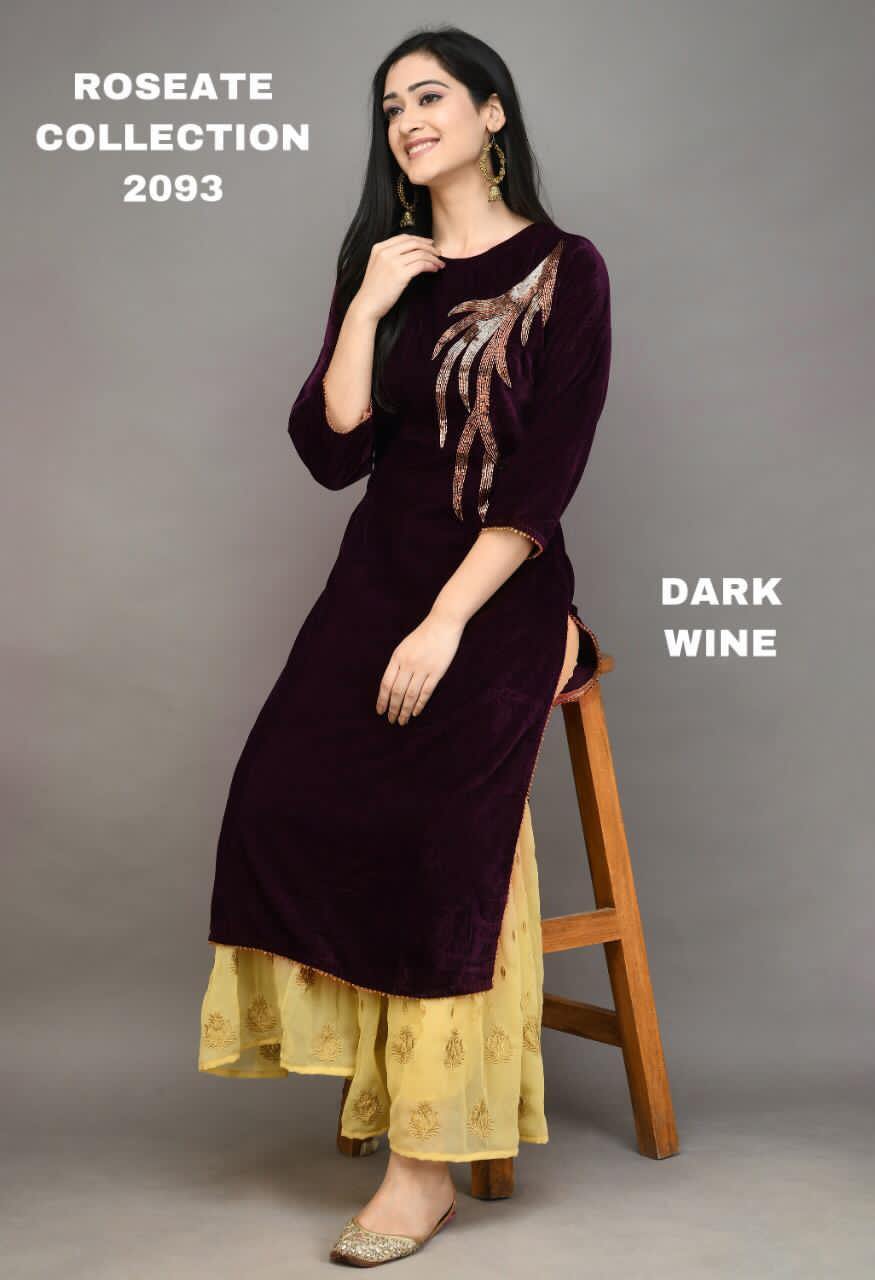 Dark Wine Velvet Embroidered New Kurti Sharara Dress Online