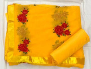 Yellow Georgette Flower Embroidered Shop Sarees Online India