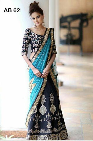 Banglori Silk Navy Blue Bollywood Designer Lehengas ,Indian Dresses - 1