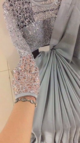 Grey Satin Fashion Saree Online Shopping