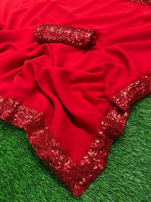Red Georgette With Sequins Border Online Shopping For Fancy Sarees