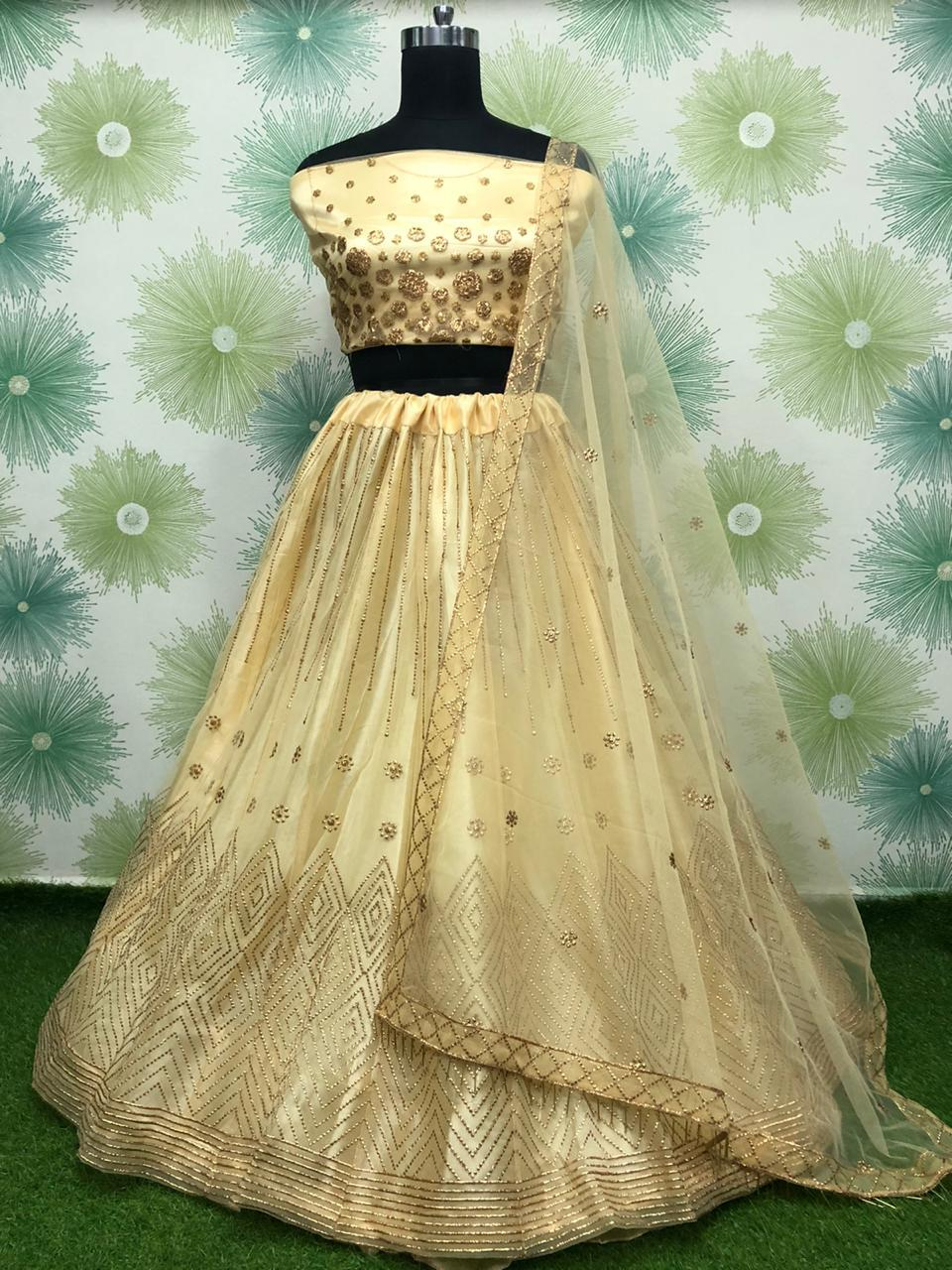 Beige Net Embroidered Lehenga Dress Online Shopping