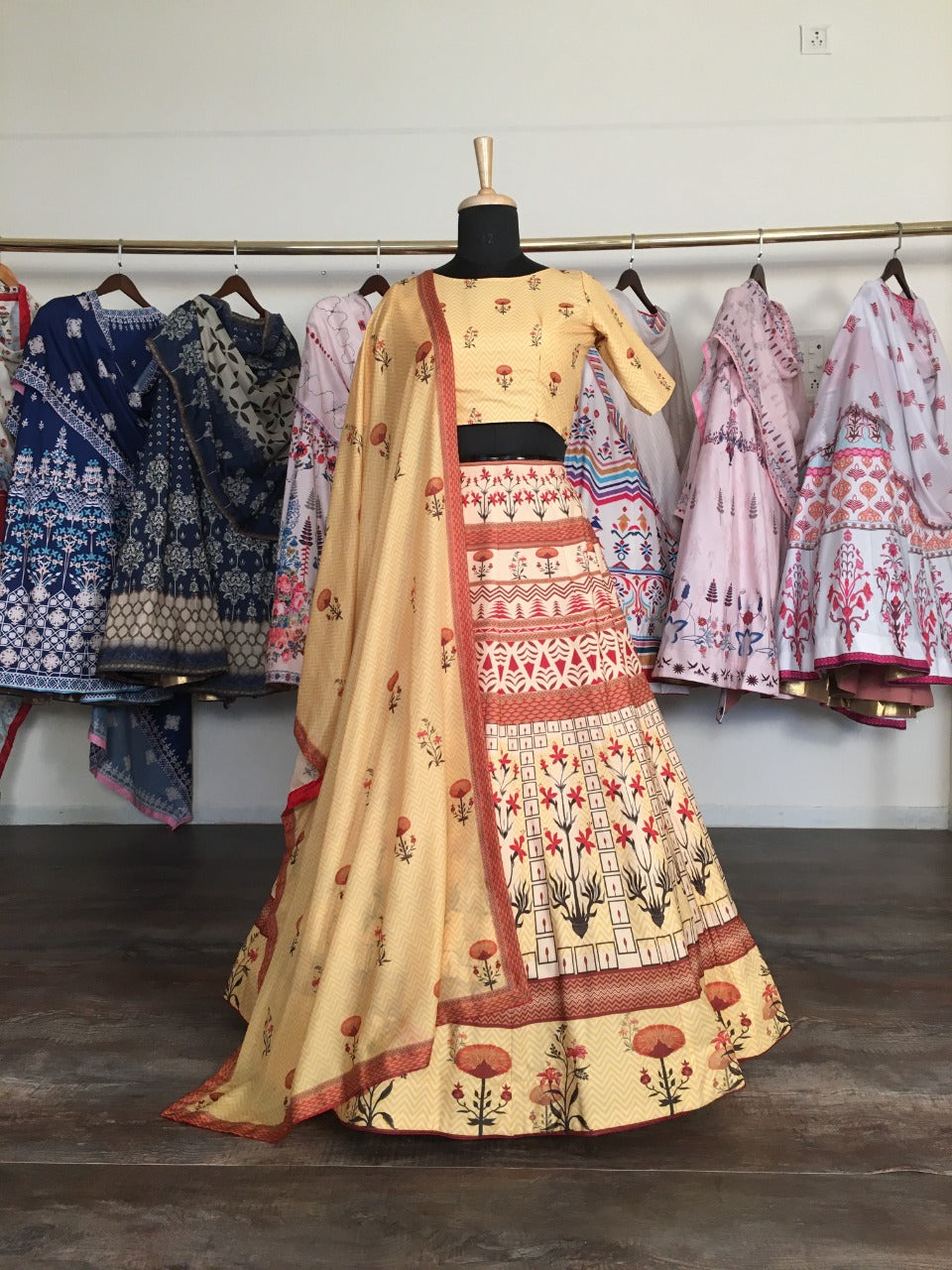 Light Yellow Digital Printed Lengha Choli Online Shopping