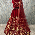 Purple Taffeta Silk Embroidered Ethnic Wedding Lehenga Choli For Women