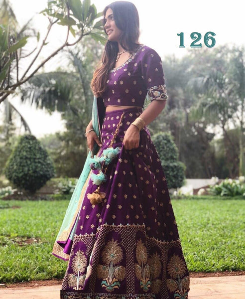 Purple Bangalori Satin Embroidered Party Lehenga Choli Online