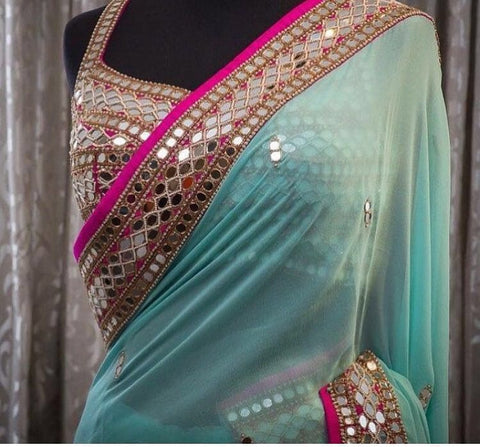 Blue Pink Mirror Handwork Bollywood Designer Dresses Online ,Indian Dresses - 1