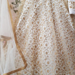 White Net With Gold Work Lehenga Designs For Wedding With Price