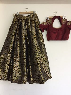 Gold Brocade Indian Fashion Embroidered Lehenga Choli Online