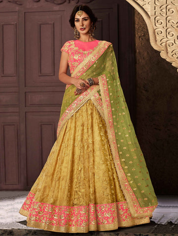 Lovely Yellow Net Party Wear Ghagra Choli Online Buy