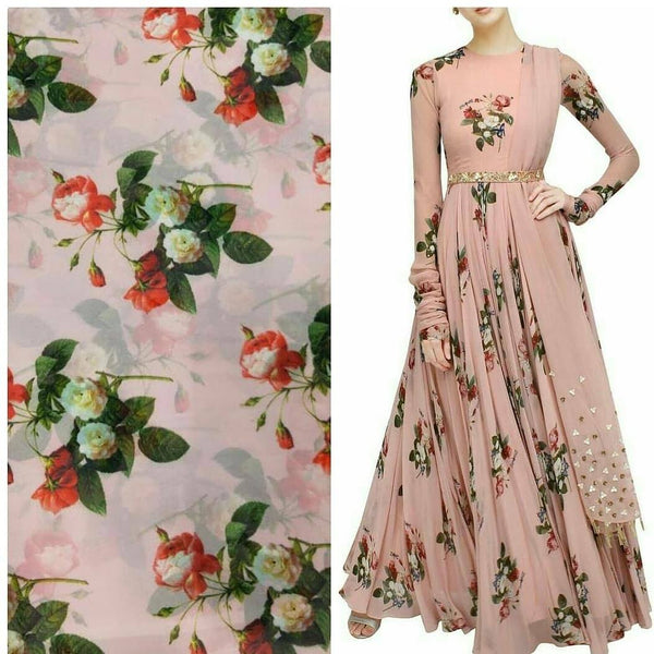 Peach Pink Floral Print Georgette Gown at Indiandresses.co