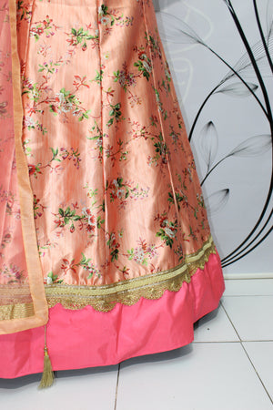 Peach Floral Print Brocade Silk Latest Design Of Lehenga Choli
