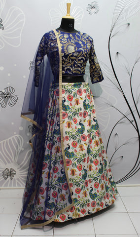 Multi Color Silk Digital Printed Latest Designs Indian Lehenga Crop Top