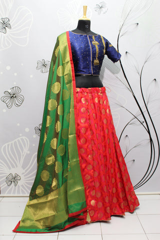 Strawberry Red Jacquard Silk New Indian Lehenga Choli Designs