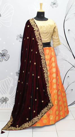 Orange Two Tone Jacquard Latest Festive Wear Lehenga Choli