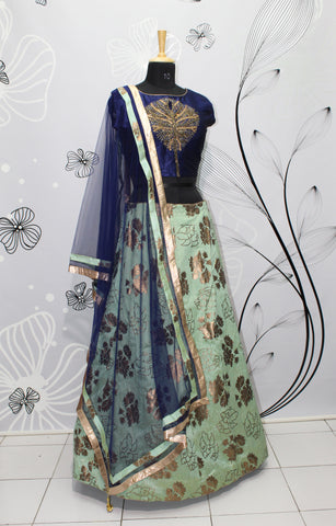 Light Sage Green Silk Latest Lehenga Online Shopping India