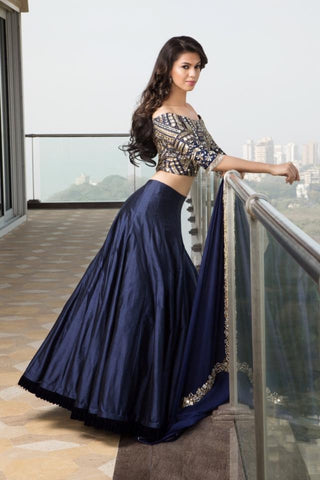 Navy Blue Banglori Silk New Party Lehenga Crop Top Online Shopping