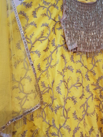 Yellow and Gold With Tassels Work Blouse Online Lehenga Choli