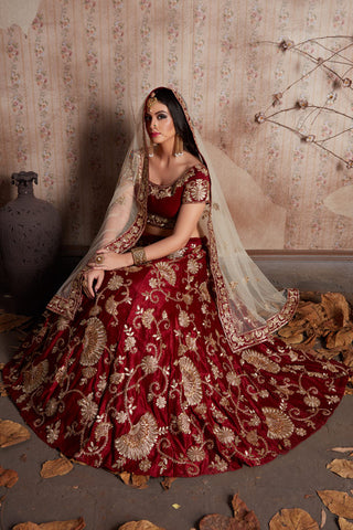 Maroon Velvet Silk With Zari Embroidery Bollywood Bridal Lehengas