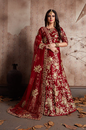 Maroon Velvet Bollywood Wedding Lehengas Online Dresses
