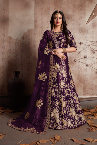 Purple Velvet Silk Dori Work Lengha Choli Online Shopping