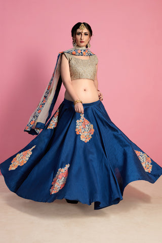 Dove Blue Thread Work Bollywood Wedding Lenghas