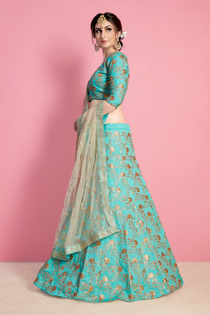 Sea Green Silk Wedding Lehenga Choli Designs