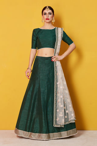 Dark Green Art Silk Latest Style Of Lehenga Online Shop