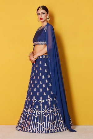 Navy Blue Bollywood Party Wear Shop Lehengas Online